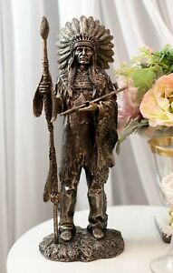 Native American Indian Chief With Eagle Roach Spear And Chalumet Pipe Statue $39.99