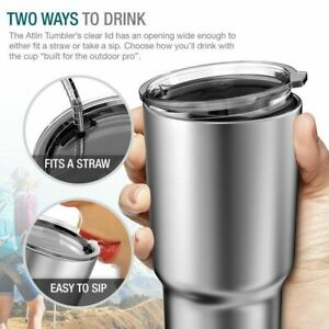 Stainless Steel Tumbler 30 oz Insulated Coffee Cup Travel Mug Lid Holiday Gift