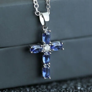 Elegant Cross 925 Silver Necklace Pendants Blue Sapphire Women Jewelry Gift