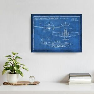 Poster Inspired #x27;American P 51 Blueprint#x27; Canvas Art by Large
