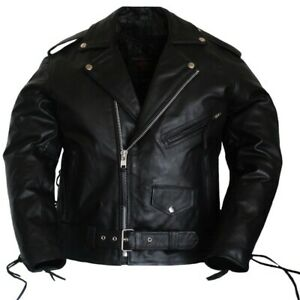 Men Motorcycle Classic Side Laces Choppers Biker Style Leather Jacket