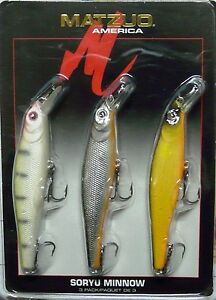 Pack of 3 Matzuo Soryu Minnow Freshwater Lures 2 4 ft. Diver PP1 4
