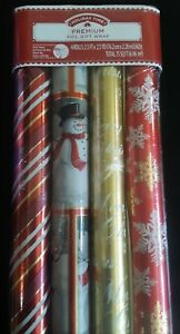 Holiday Time 4 Roll Premium Christmas Foil Gift Wrap 2.5ft x 2.5 yds. 75 sq. ft.