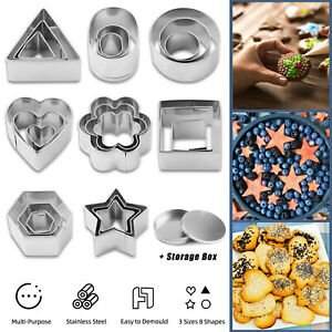 Set Of 24Pcs Stainless Steel Mini Cookie Cutter Biscuit DIY Baking Pastry Mold $10.95