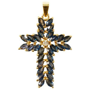 Fashion 18k Yellow Gold Plated Necklace Pendants Blue Sapphire Women Jewelry