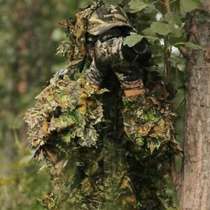 Camouflage Hunting Clothes Suit 3D Leaves Linen Long Sleeve Hooded JacketPants