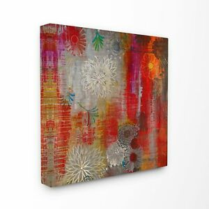 Abstract Colorfield Daisies Warm Colors Stretched Canvas 24 x 24