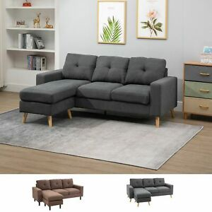 Linen Fabric L Shape 3 Seater Sofa Couch with Sponge Cushion Wood Frame