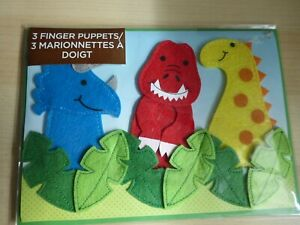 PAPYRUS Greeting Card Dinosaur felt finger puppets Happy Birthday Kids Card $10.00