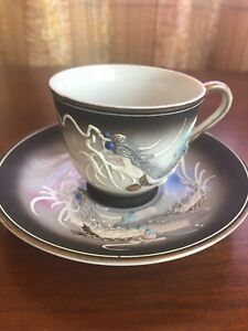 Japan China Tea Cup  Saucer Set Gray Black Dragon With Blue Eyes Dragonware