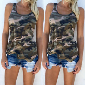 Wide Strap Tank Top T shirt Camouflage Women Sleeveless Summer Vest Tee Blouse