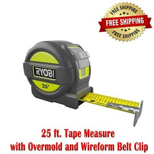 25 Foot Tape Measure with Overmold and Wireform Belt Clip Nylon Coated Blade