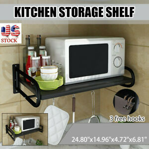 US Wall mounted Kitchen Hanging Microwave Oven Stand Storage Rack Shelf Bracket $32.75