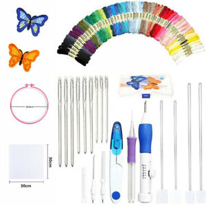 Magic DIY Punch Needle Embroidery Kit Knitting Sewing Pen Tools 50Colors Threads $12.99