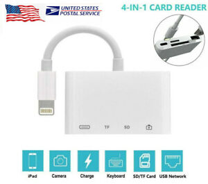 4in1 OTG Lightning to Card Reader Adapter USB Camera TF SD Memory Slot f iPhone