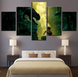 Black Panther In The Jungle Book Comics Movie Canvas Painting No Frame 5 Pieces