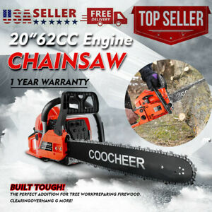 NEW COOCHEER 62CC 20quot; Gas Chainsaw Handed Petrol Chain Woodcutting 2 Cycle USA $133.99