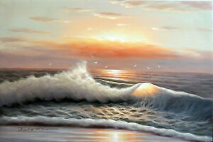 Surf Sunrise Quiet Beach Hawaii Caribbean Seascape Oil Painting 24X36 STRETCHED $111.11