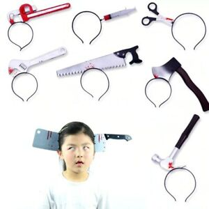 Halloween Horror Headbands Hair Bands Fake Knife Party Bloody head Trick Costume