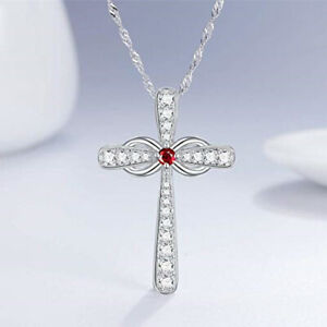 Gorgeous Cross 925 Silver Necklace Pendants Cubic Zircon Women Jewelry