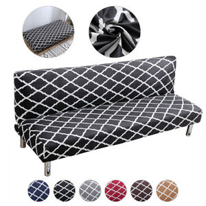 Grid Stretch Armless Sofa Bed Cover Full Folding Futon Slipcover Couch Cover USA $22.99