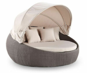 Large Outdoor Wicker Round Day Bed Sofa Couch Rattan Sun Lounge Shade Furniture $70.00