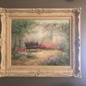 ORIGINAL ROWENNA ANDERSON Oil Painting Signed Framed Art Victorian Garden $1000.00