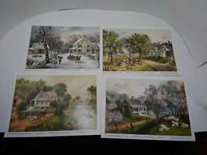 4 Currier and Ives American Homestead Season Lithographs 5 X 7quot; Unframed $9.99