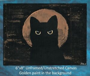 "Original painting Cat and Moon acrylic on 6""x8"" Unframed Unstretched Canvas $24.95"