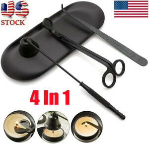 4 in 1 Candle Accessory Set Candle Snuffer Wick Trimmer Dipperamp;Plate Tray Black