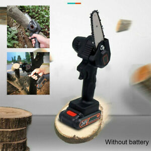 Rechargeable 4#x27;#x27; 100mm 550W 24V Mini Cordless Electric Chainsaw Wood Cutter $39.99