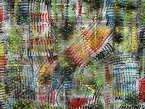 Modernist LARGE ABSTRACT PAINTING Expressionist MODERN ART SHORT CIRCUIT FOLTZ $75.00