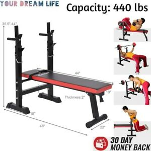 Weight Bench Folding Lifting Flat Incline Adjustable Ab Abdominal Home Gym Black $367.88