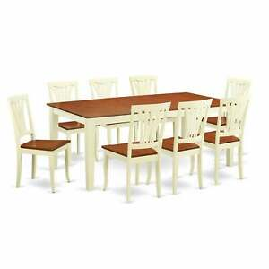 QUAV9 Cream Off White Rubberwood 9 piece Dining Room Set Cream Off White 9 Piec $1159.99
