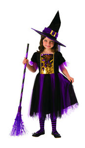 Girls Color Magic Witch Costume Sequin Dress amp; Hat Combo Halloween Child Md 8 10