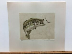 Mike Stidham Largemouth Bass Fishing Hand Colored Etching Signed Art Print $79.95