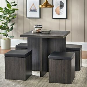 5 Piece Dexter Dining Set with Storage Ottoman Reclaimed Grey
