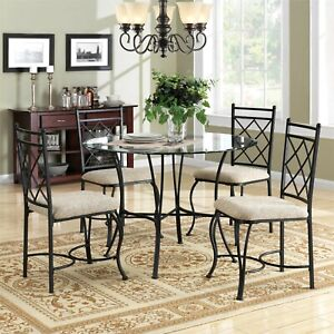 5 Piece Glass Top Metal Dining Set Sleek Contemporary Design Assembly Required