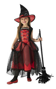 Girls Ruby Witch Costume Dress amp; Hat Combo Halloween Child Sm 4 6