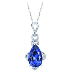 Elegant 925 Silver Necklace Pendants Blue Sapphire Women Jewelry Gift