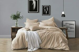 Swift Home YD Chambray Duvet Cover Set Cotton Almond Full Queen