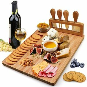 Bamboo Cheese Board Set Charcuterie Platter and Serving Meat Board Including 4