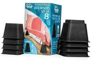 Premium Adjustable Bed Risers or Furniture Risers 3 5 or 8 Inch Bed Riser Tab