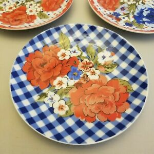 The Pioneer Woman Plate Decor Red Lace And Blue Gingham 6quot; Lot of 3