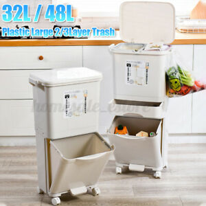 Large Capacity 38 42L Trash Can Doubledeck Waste Sorting Bins Kitchen #