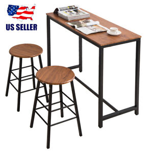 3 PCS Wooden Counter Height Dining Set Table And 2 Chairs Kitchen Bar Furniture