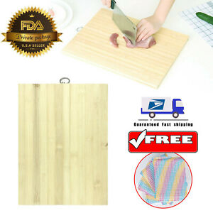 14quot;x 10quot; Bamboo Wood Cutting Board Kitchen Butcher Carving Chopping Block w Hook