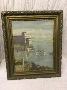 Dated 1945 Oil On Board Seascape Signed A Appelquist In Great Gilt Gesso Frame $35.00