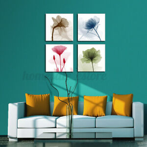 4Pcs Framed Abstract Floral Modern Canvas Print Paintings Home Wall Art A1