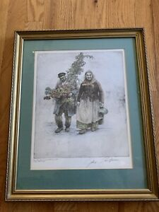 Paul Geissler Vintage Hand Colored Etching Signed Germany Couple With flowers $99.99